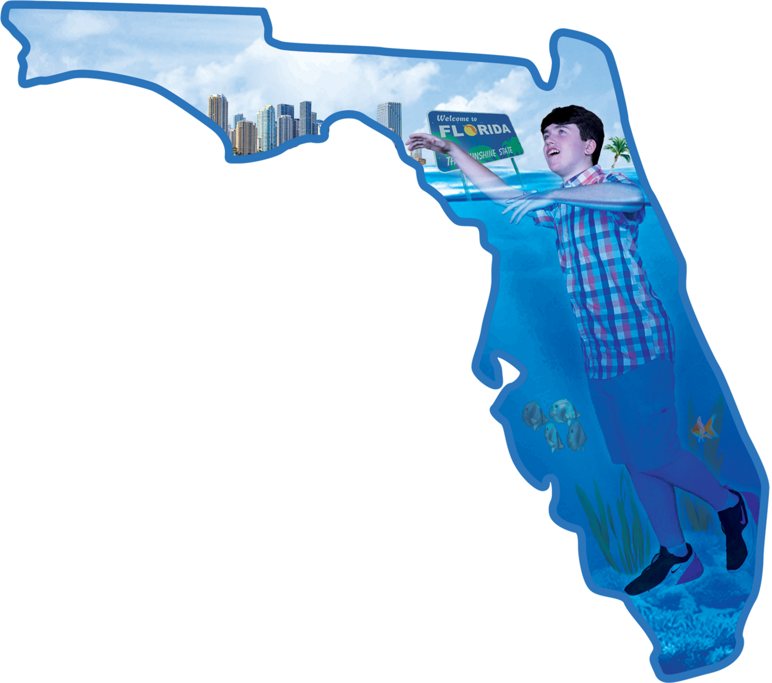 Joseph Brady is depicted trying to swim in a submerged Florida.