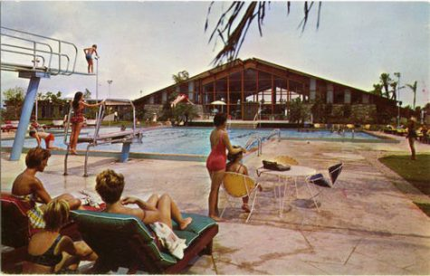 A Retro Day at the Yacht Club: This image from a postcard shows some families enjoying a day at the pool.