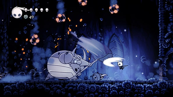 The image features one of the many action fighting scenes in Hollow Knight.