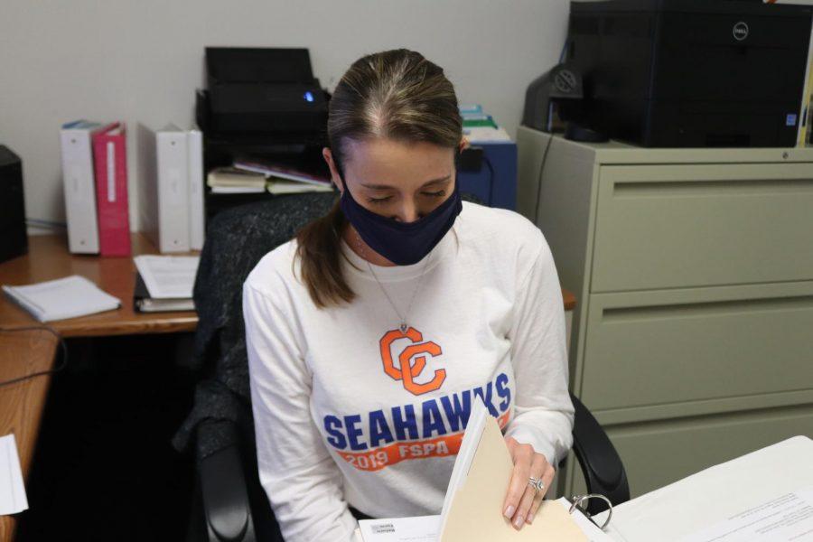 The new principal secretary, Kim Morgan, hard at work.