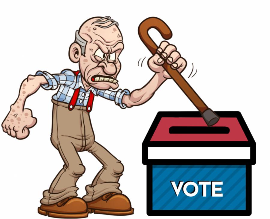 An older gentleman defends the ballot box.