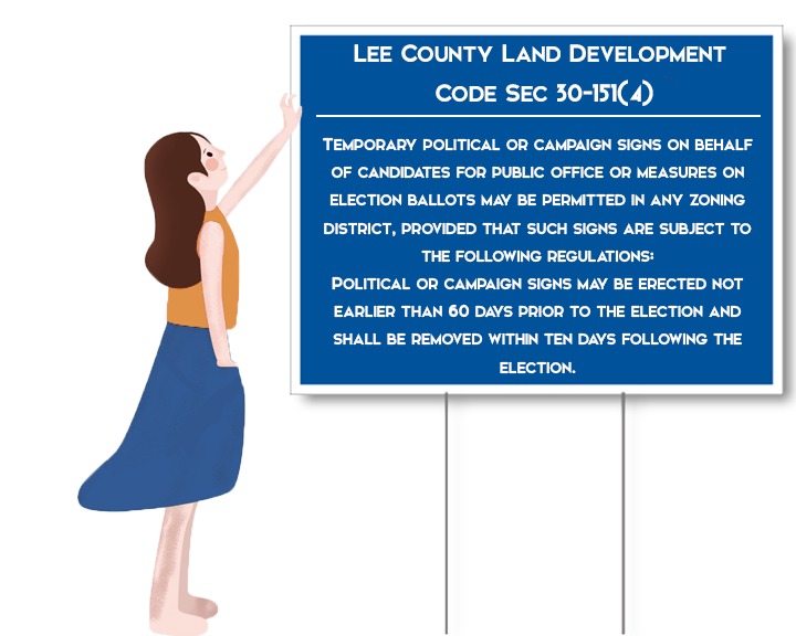 According to the Lee County Land Development Code, there are certains parameters that campaign signs must meet.