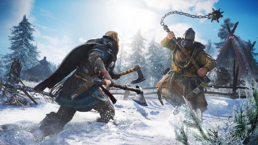 Image from the new Assassin's Creed game, Valhalla, featured on the Playstation website
