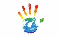 A hand print represents the pride flag and those in the LGBTQ+ community.