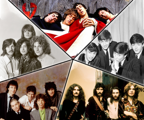 The bands featured in the article; the Who, the Beatles, Black Sabbath, the Rolling Stones, and Led Zeppelin (clockwise)